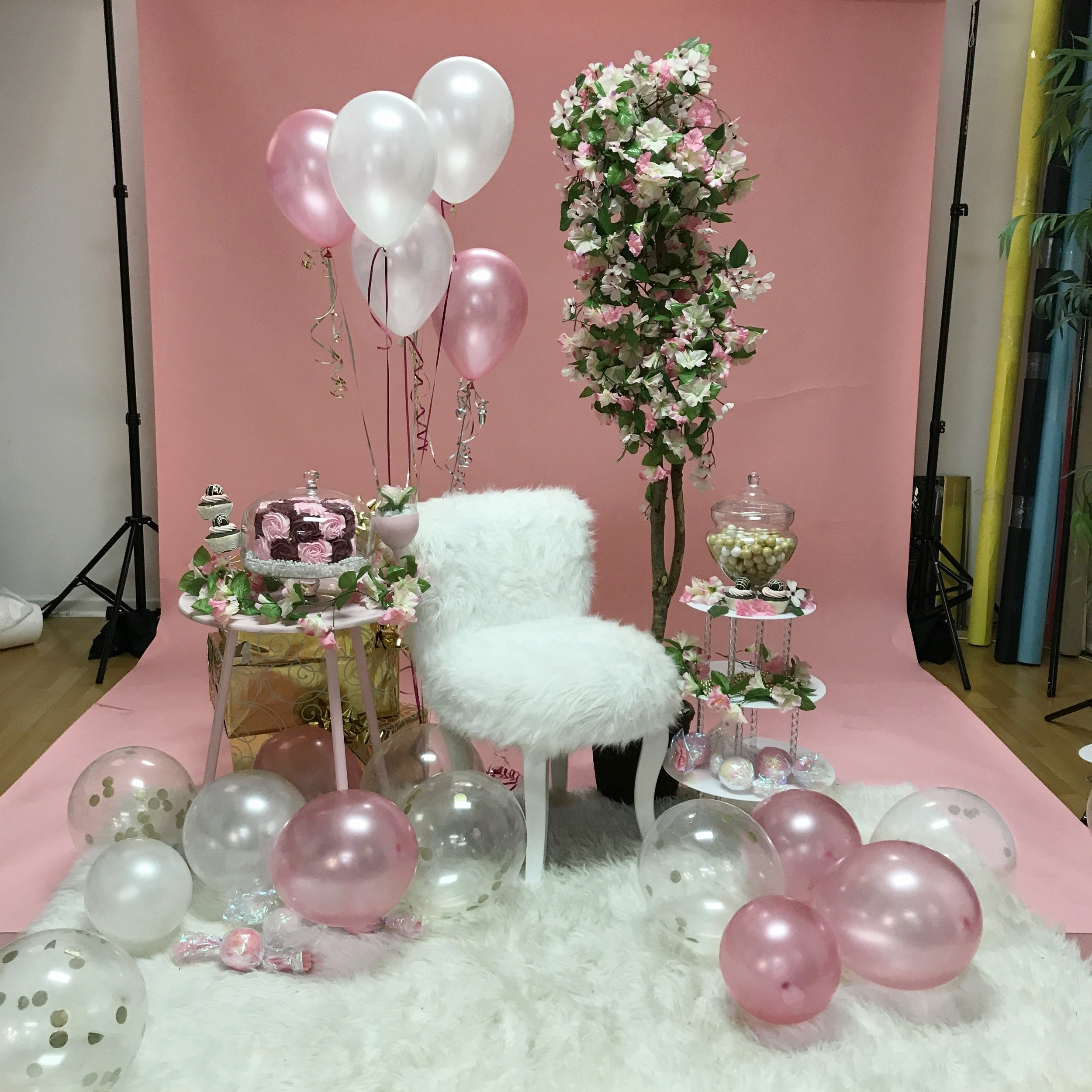 Scene Design Is Example And Is NOT LIMITED To Color Scheme Presented  Client Provided Pre-Filled Helium Rubber Balloons (floor balloons provide by photographer)