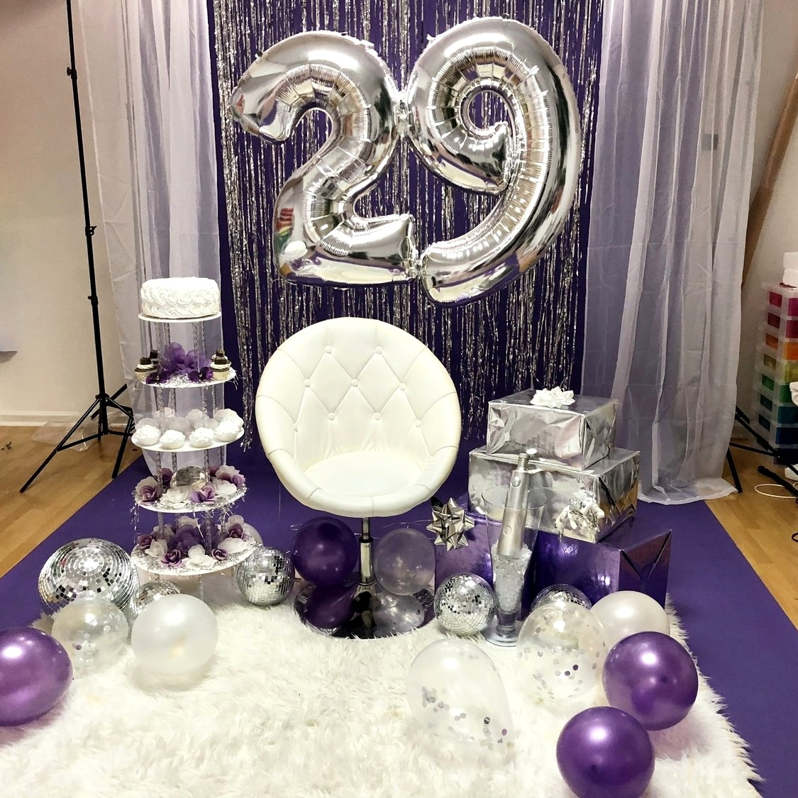 Scene Design Is Example And Is NOT LIMITED To Color Scheme Presented.  Client Only Provided Pre-Filled Helium Numbers (floor balloons provide by photographer)