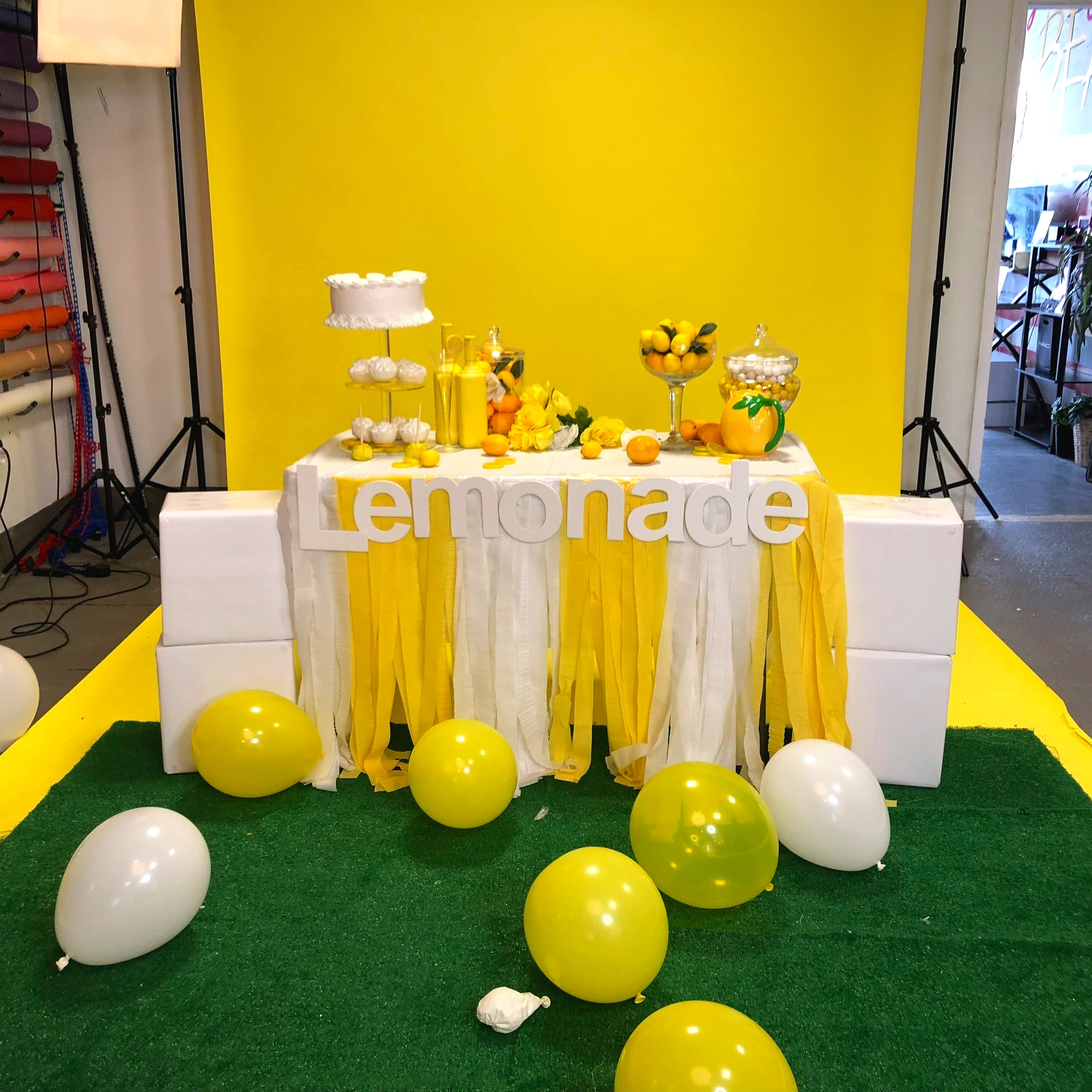 Scene Design Is Example And Is NOT LIMITED To Color Scheme Presented.  Client Provided Pre-Filled Helium Rubber Balloons  (floor balloons provide by photographer)
