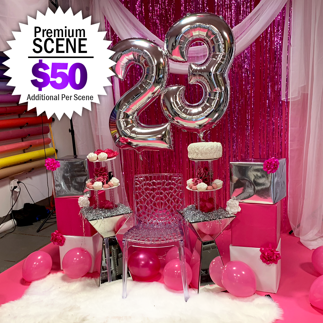 $50+ Additional - Curtains | Table | Chair | Props | Stands or Bars | Flat Lays | Bed Scenes Balloons, Bottles, Faux Cakes & Cupcakes, Fur or Foil Flooring, Ceiling Balloons, Trees, Presents!Customizing Discussed During Your Consultation.