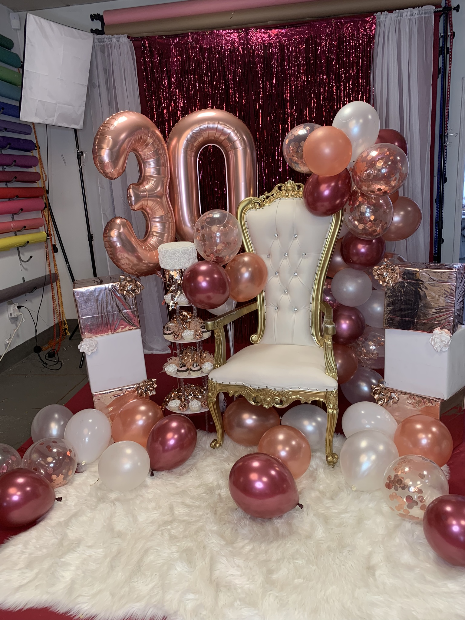 Scene Design Is Example And Is NOT LIMITED To Color Schemes Presented. Clients Provided Pre-Filled Helium Numbers & Helium Rubber Balloons (floor & rope balloons on chair provide by photographer)