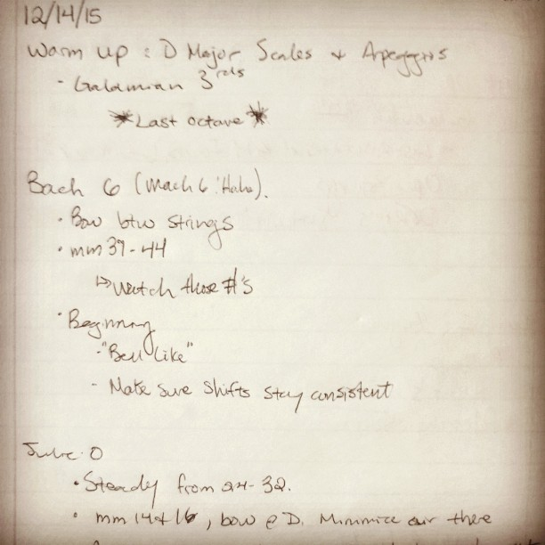 A sample practice journal.