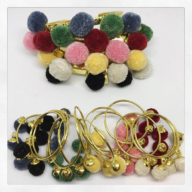 Check out @seven_jewellery_pieces a gorgeous range of bangles and hoop earrings with Pom Poms. #armcandy #earcandy #jewels #sevencolours