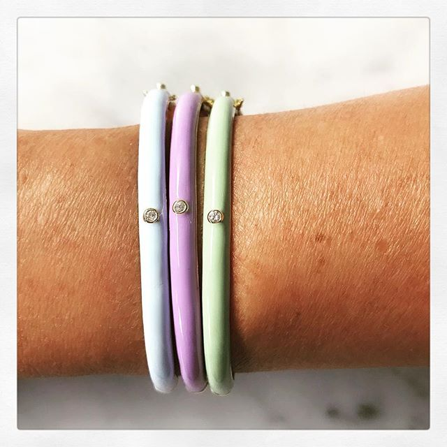 Check out my new collection of enamel and diamond Jewellery #bangles #babyhoops #threecolours @seven_jewellery_pieces 💙💜💚 www.sevenjewellerypieces.com.au