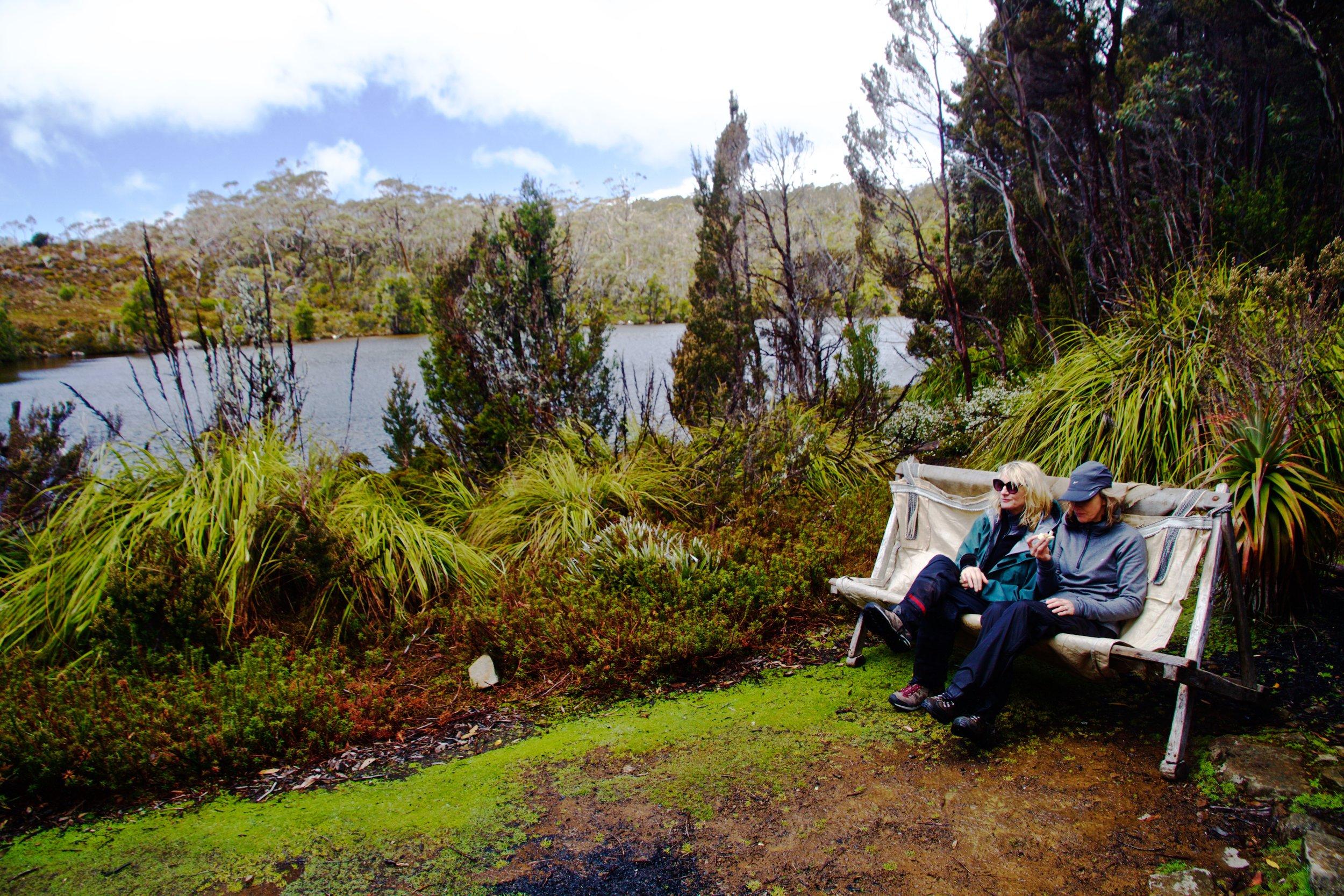 Outdoor furniture at Twilight Tarn Hut, Mount Field