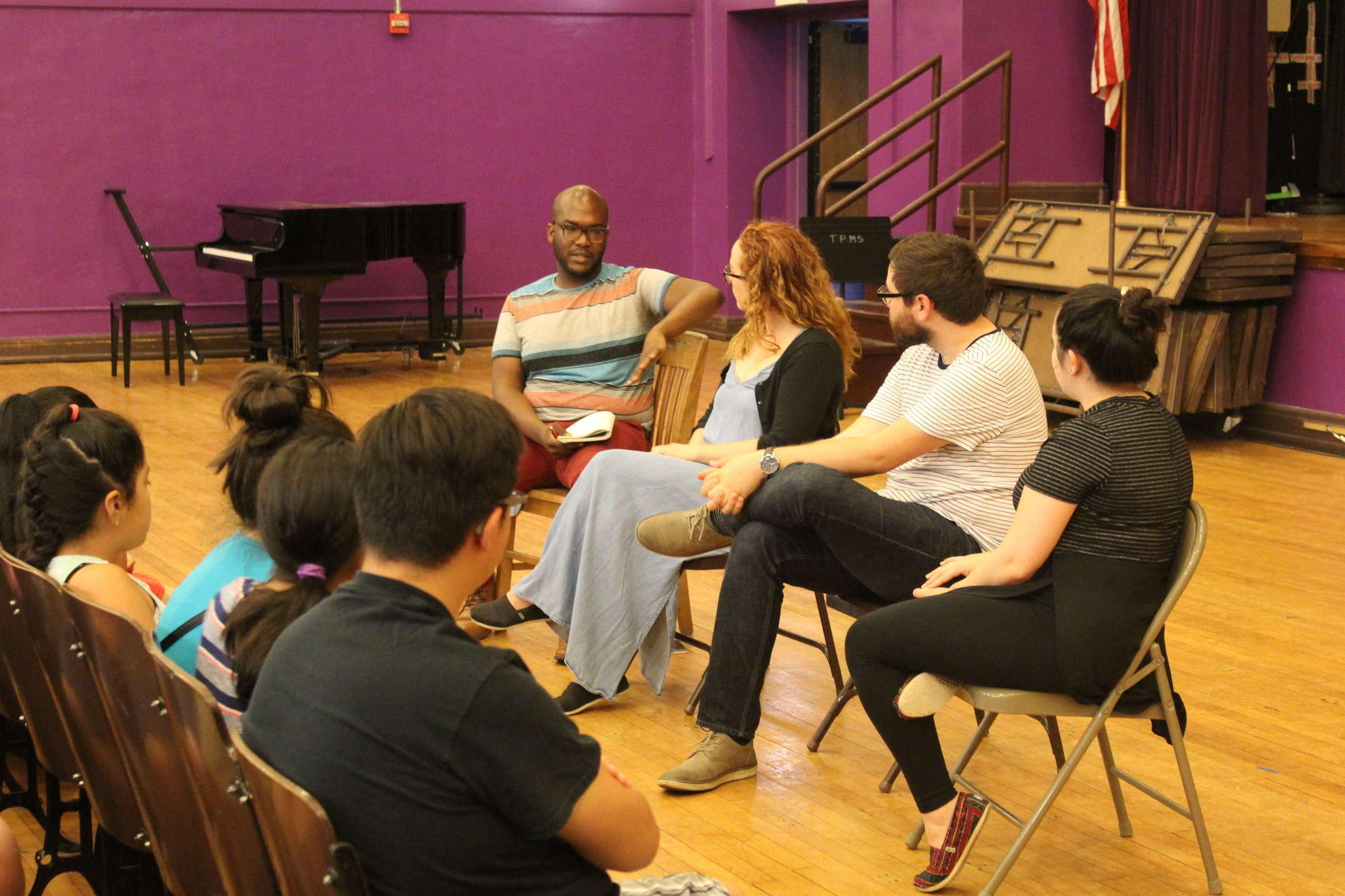 Ryan Blocker leads a panel discussion for students of The People's Music School (Chicago, IL) with members of Trade Winds.