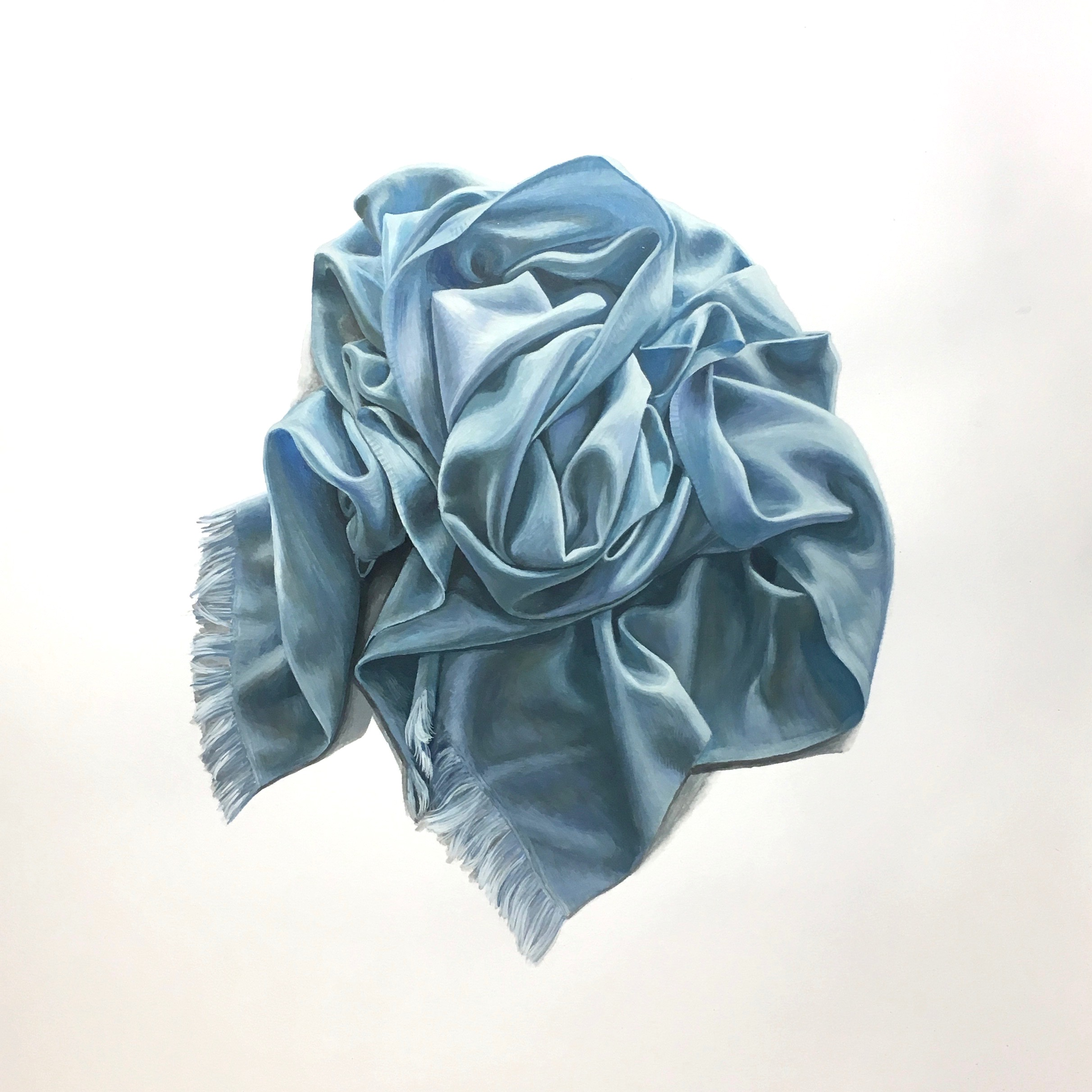Rosette in Light Blue  Gouache on Paper  14 x 17 inches $850.