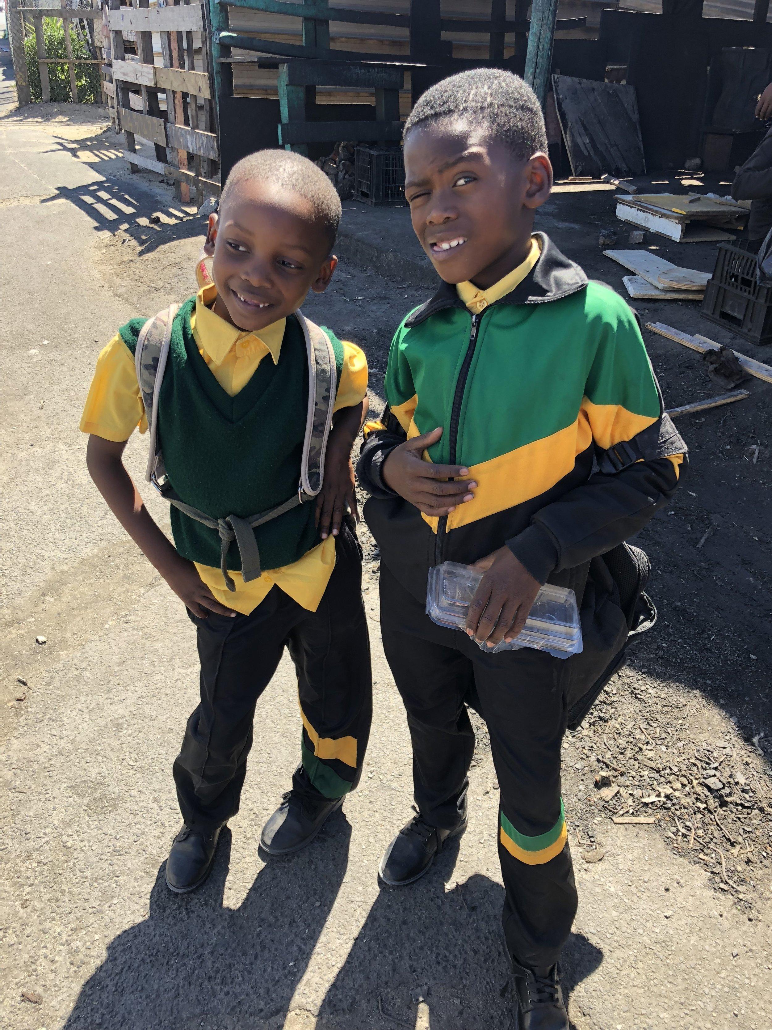 Khayelitsha township boys on their way home from school.