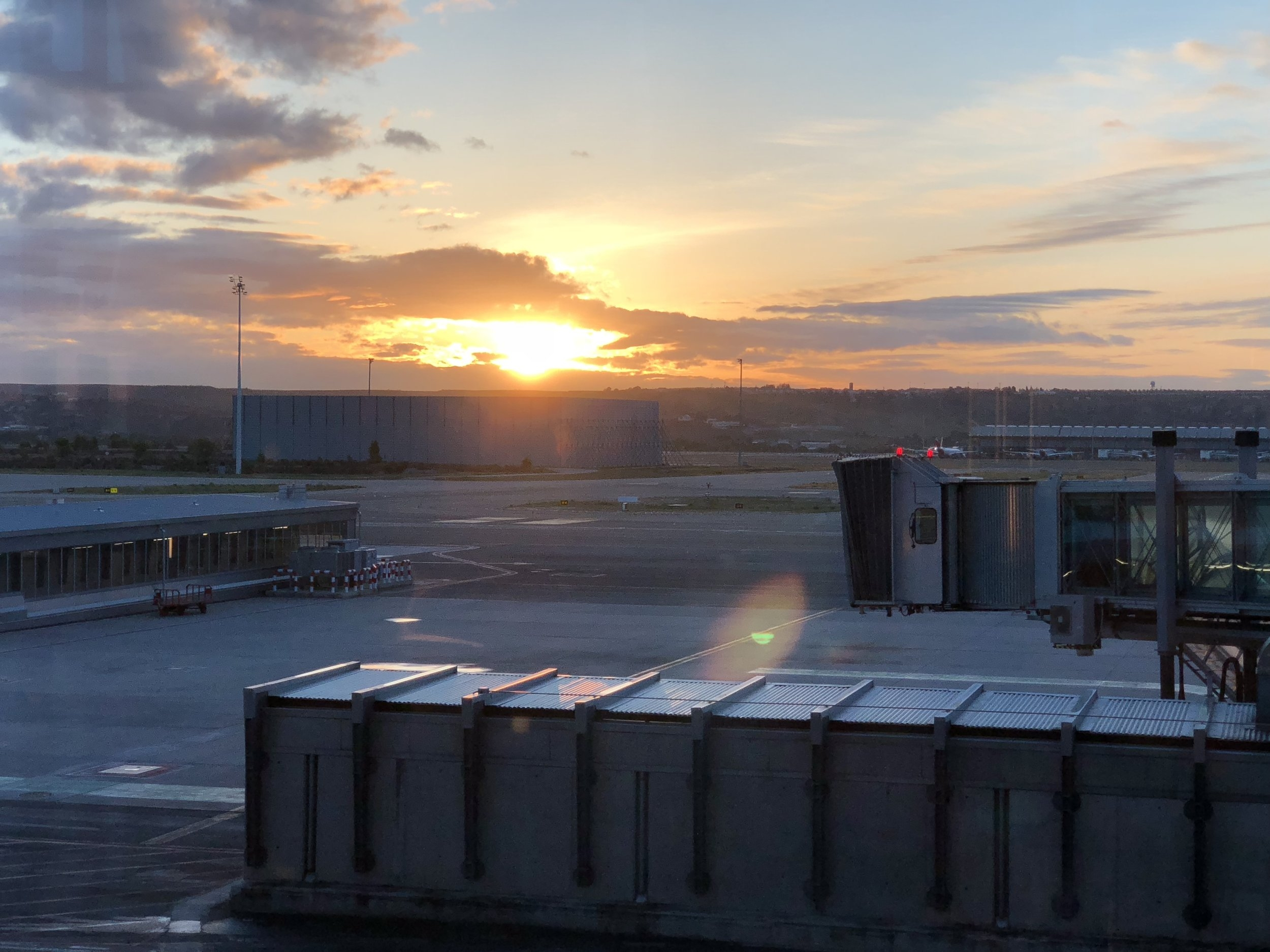 Sunrise in the Madrid airport… almost there.
