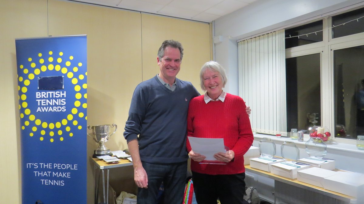 The County's Performance Manager, Chris Wilkinson (former British No1 tennis player) presenting Margaret with the H&IOW 'Club of the Year 2018' Award