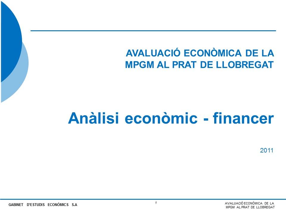 Avaluació econòmica de la MPGM del Prat de Llobregat