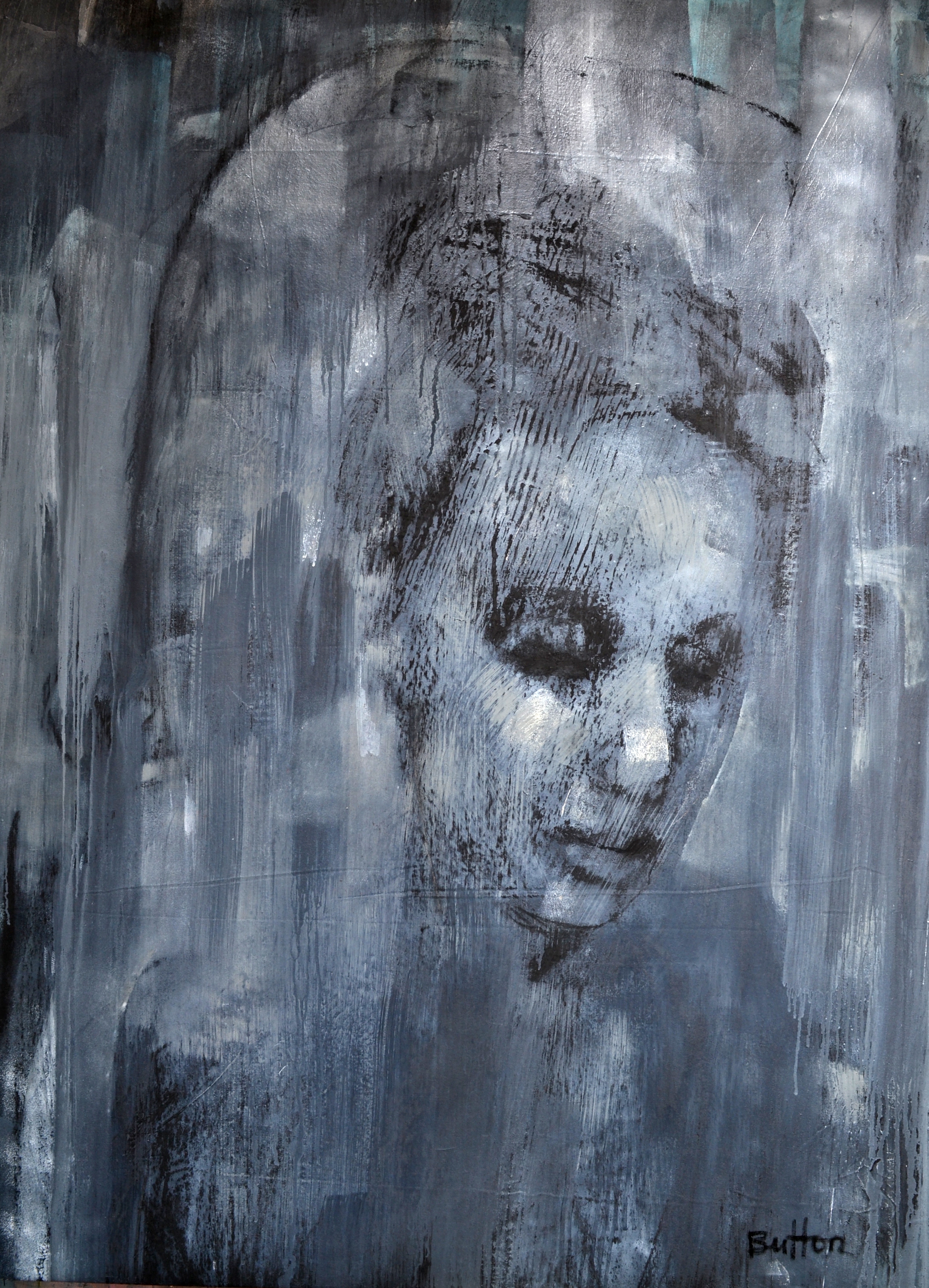 JUST SLIPPING BY £4750 Acrylic, graphite, charcoal,oil, canvas 72 x 52 ins (182.88 x 132.08 cms)