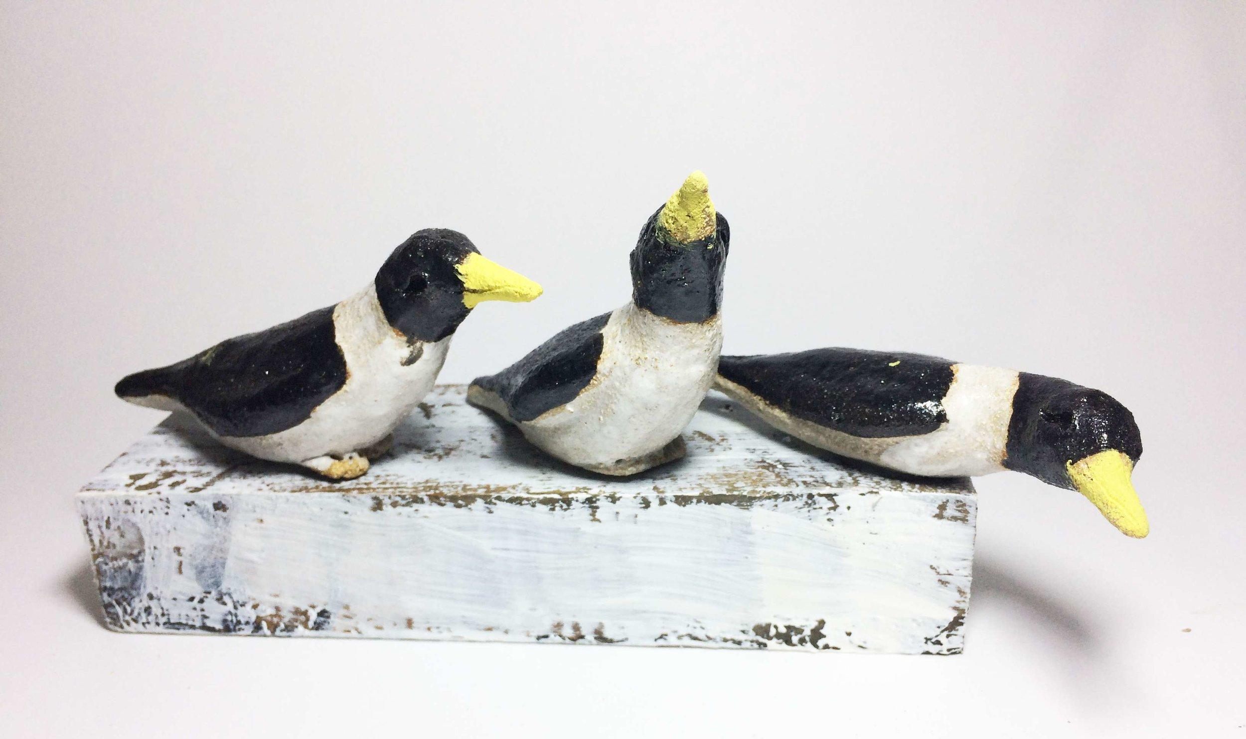 3 Penguins on Woodblock
