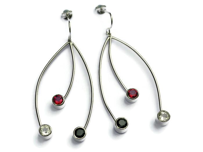 3 strand 6cms drop earrings  pink & white topaz, black spinel  £200