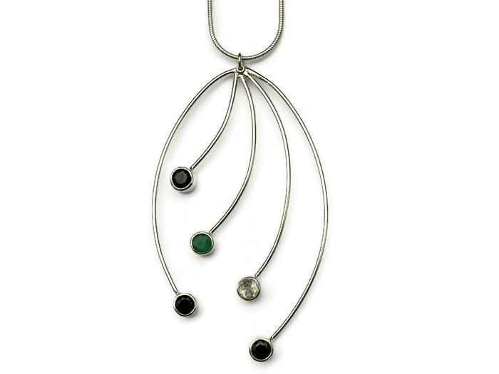 5 strand large necklace  3 x black spinel, white topaz, pink topaz, 7cms  £182