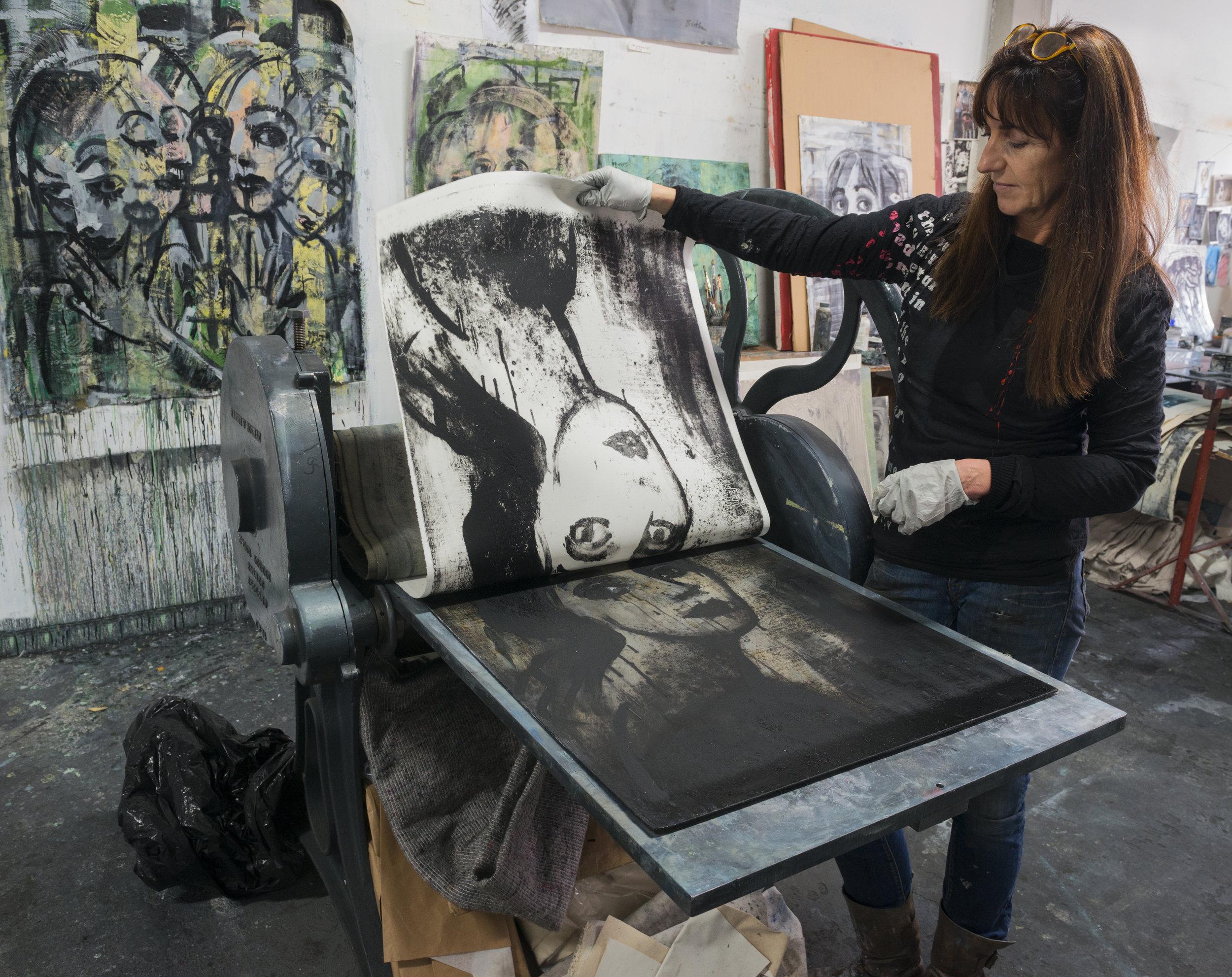 Corinna Button in her studio