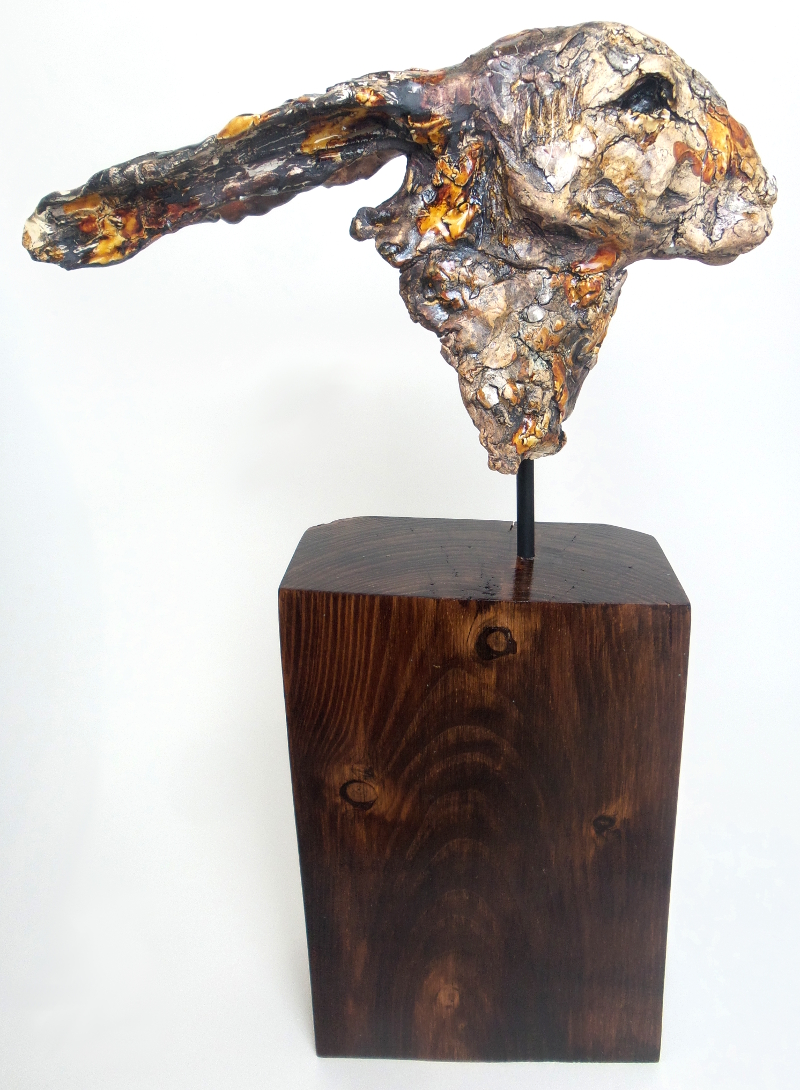 Hare head (large)  Height Including plinth 49 x 30L x 12W cm  £440