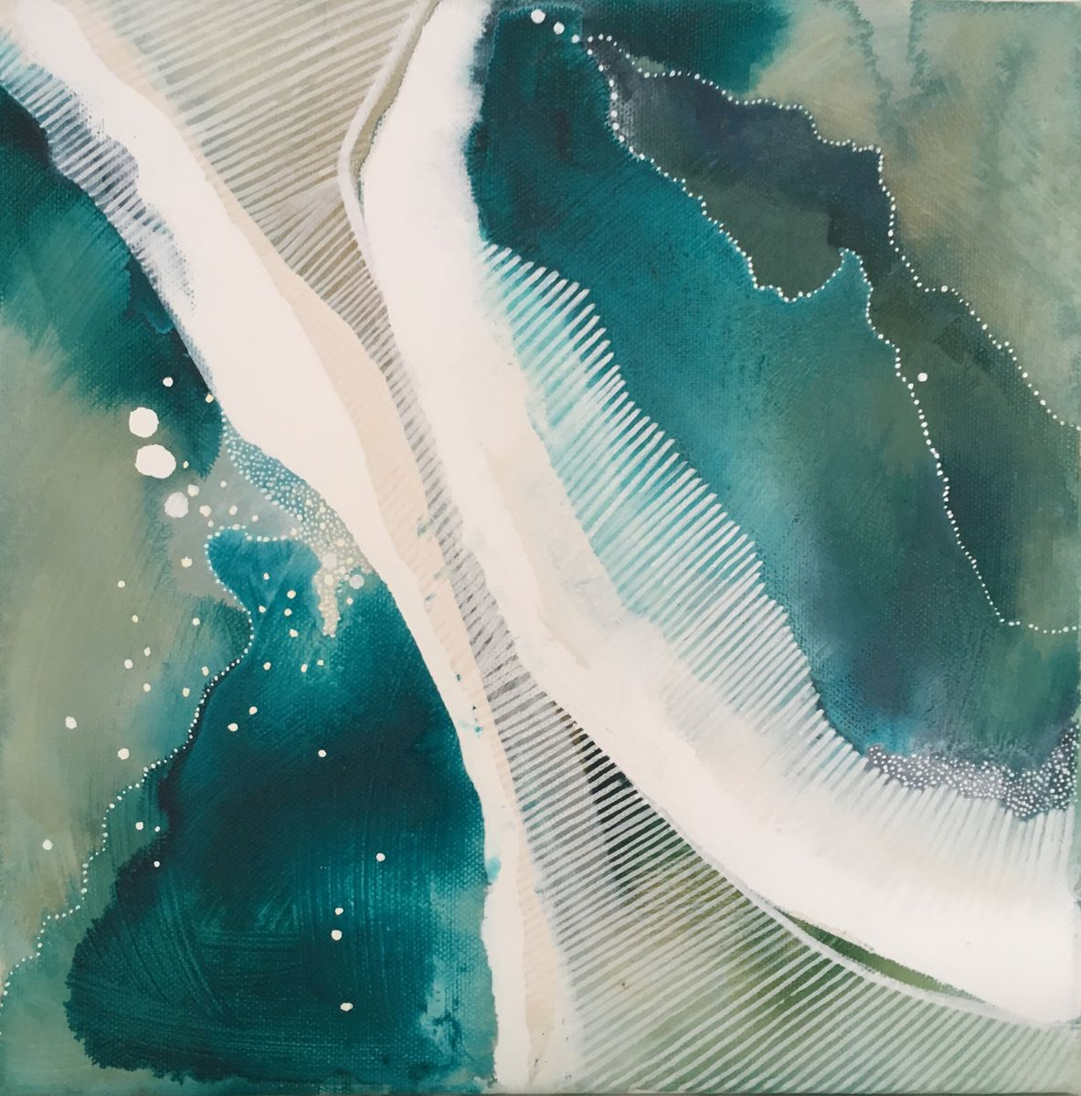 On the water no. 1  Watercolour, ink and acrylic on canvas  30x30 cm  £260