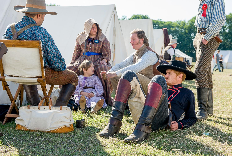 Re-enactors at encampment, multi period event in Essex