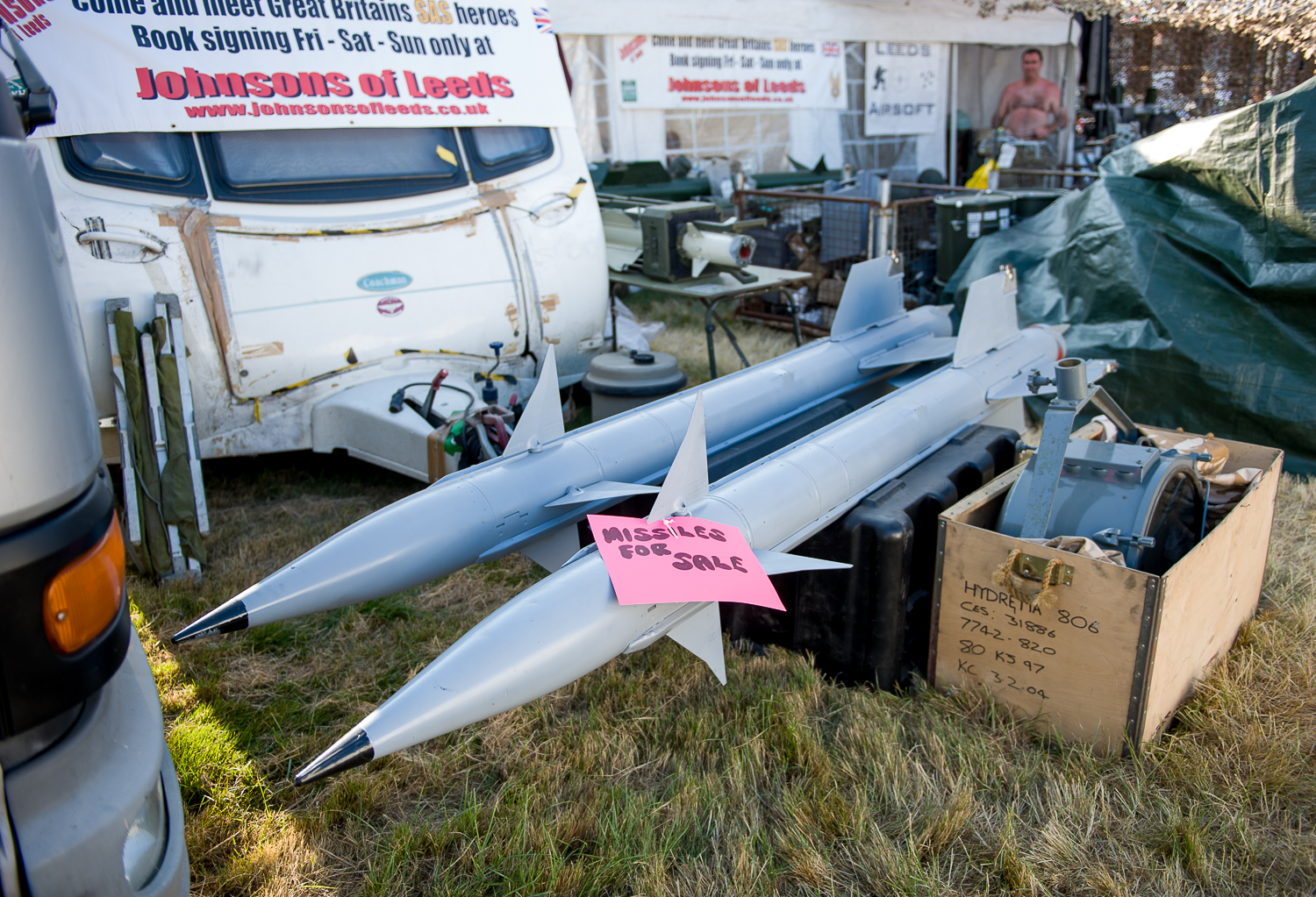 """Missiles for sale"", War and peace show, Kent"