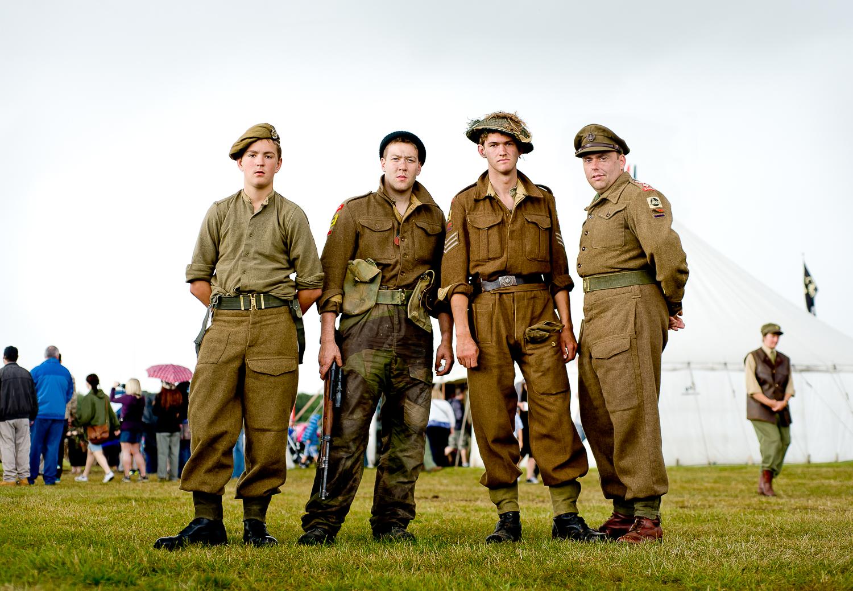 Re-enactors of British troops, event in Essex