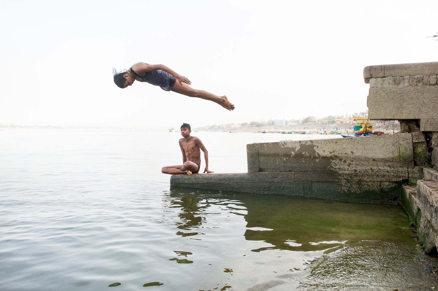 Jumping into the Ganges, Varanasi, 2019