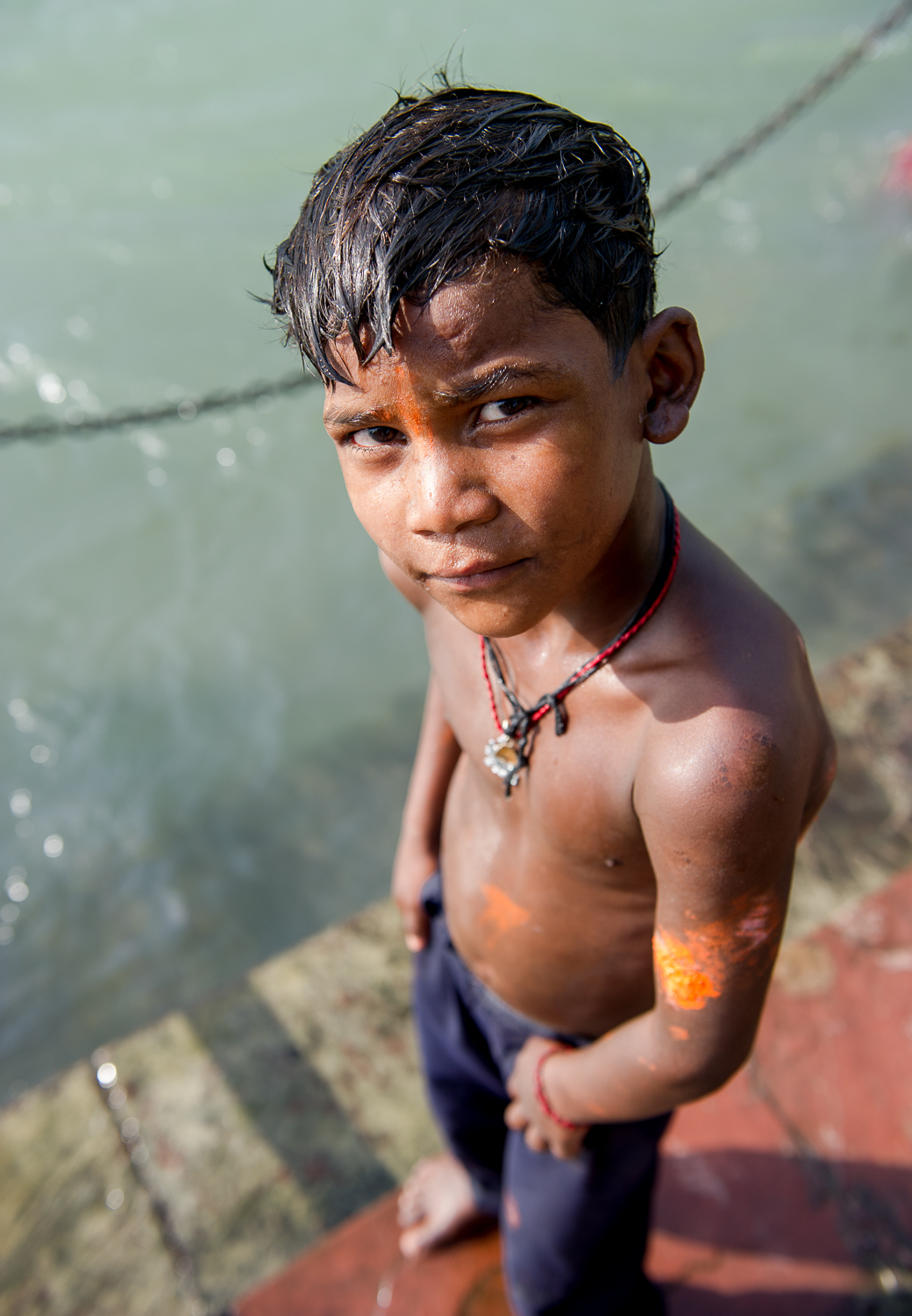 Young boy, Ganges River, Haridwar, 2019