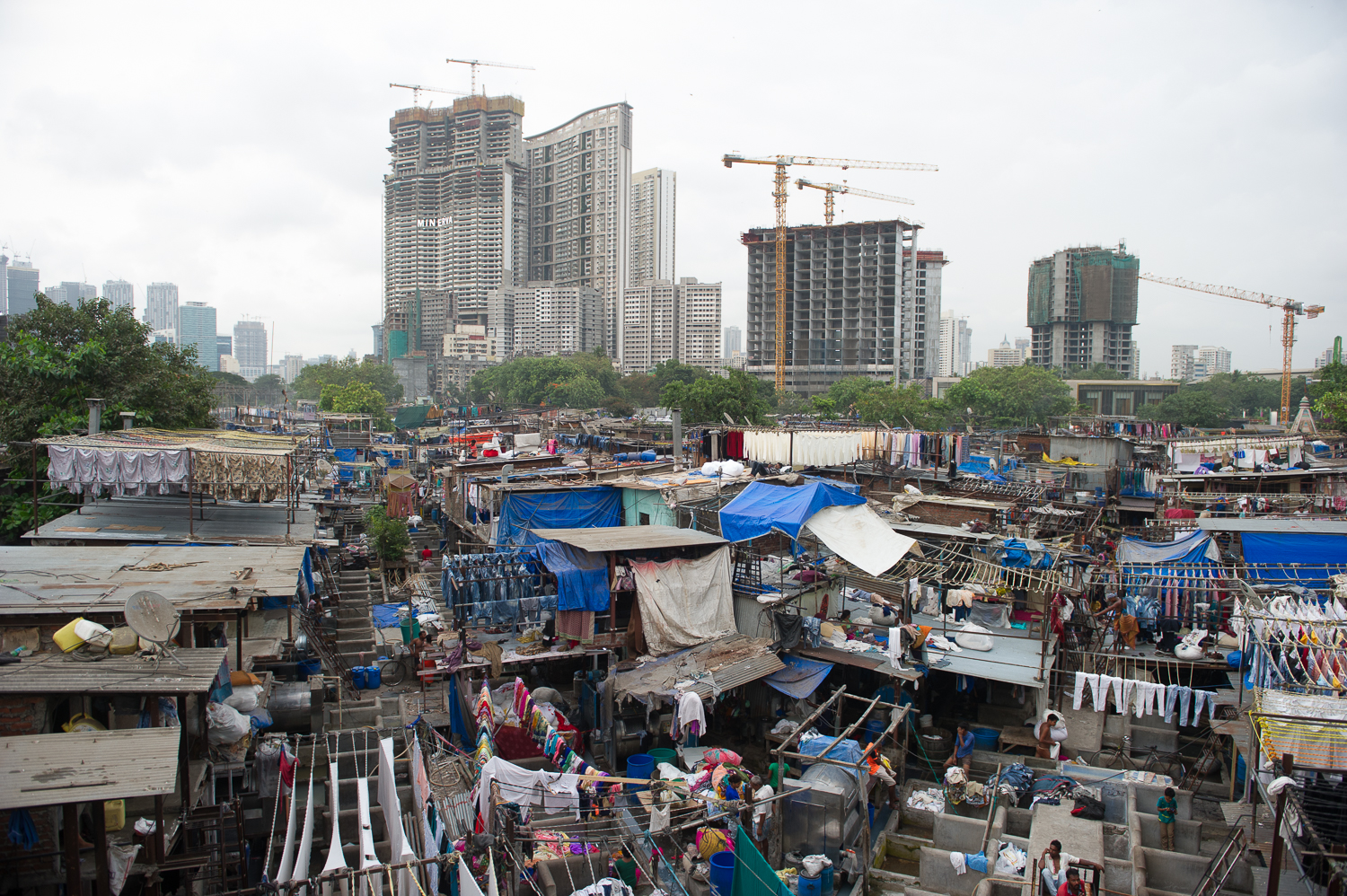 Dhobi Ghat, the biggest outdoor laundry service in the world, located int the Mahalaxmi area of Mumbai, 2019