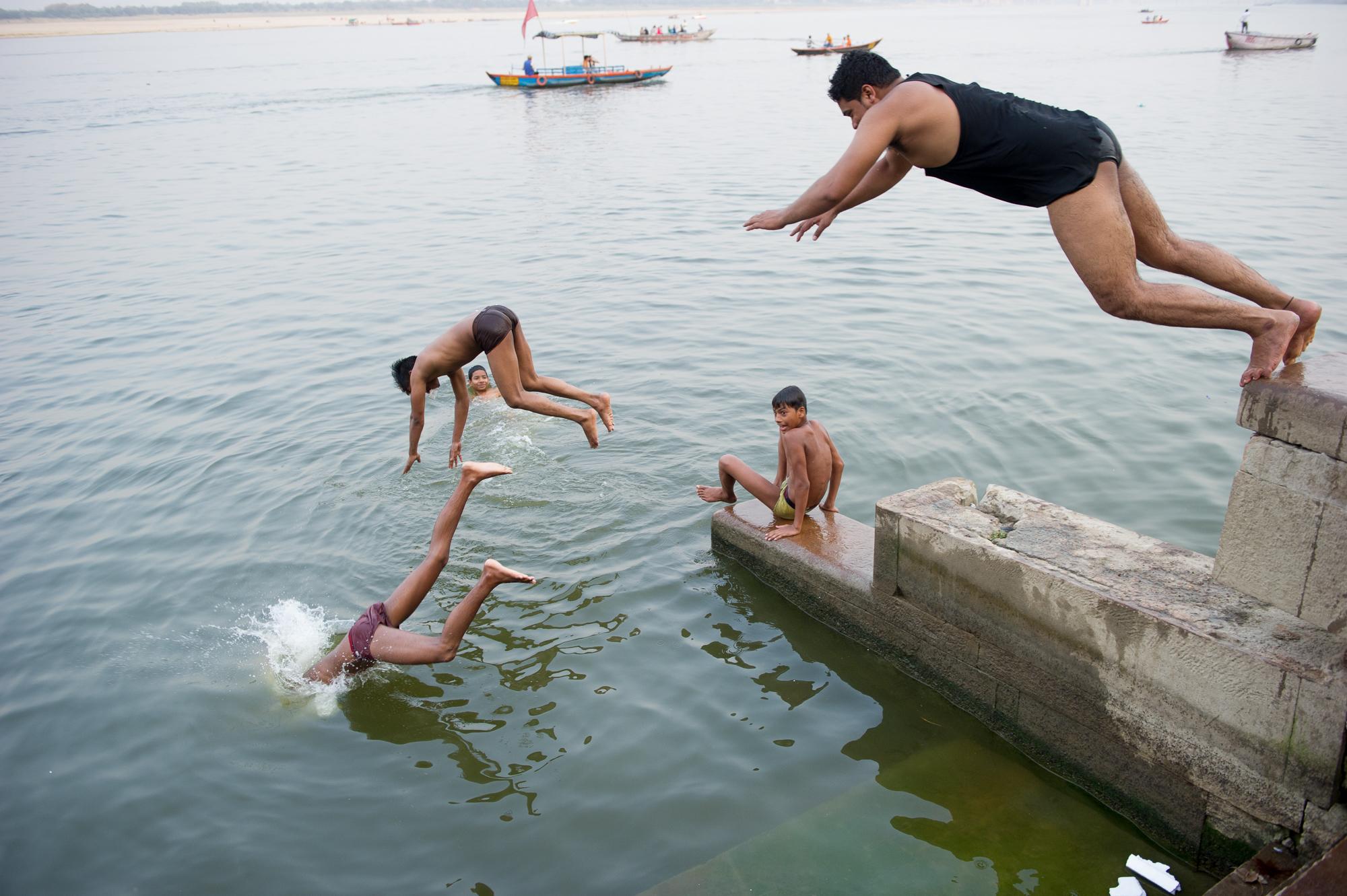 Swimmers, Varanasi, 2019