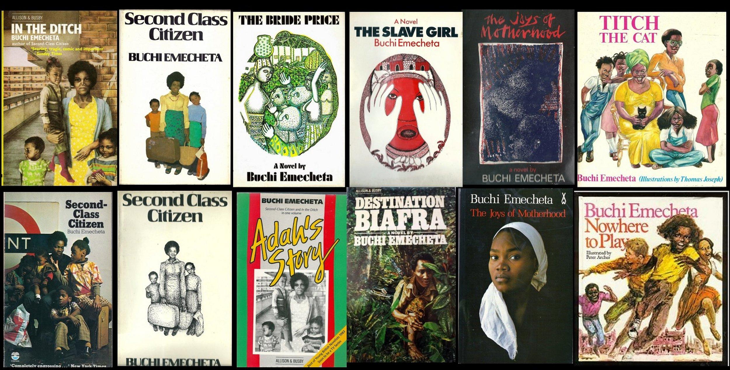Buchi Emecheta titles published by Allison & Busby. Photo courtesy of Margaret Busby.