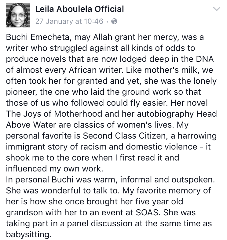 Leila Aboulela, winner of Caine Prize 2000 and served as judge for 2013 prize, fondly recollects Buchi Emecheta's influence on African writers.