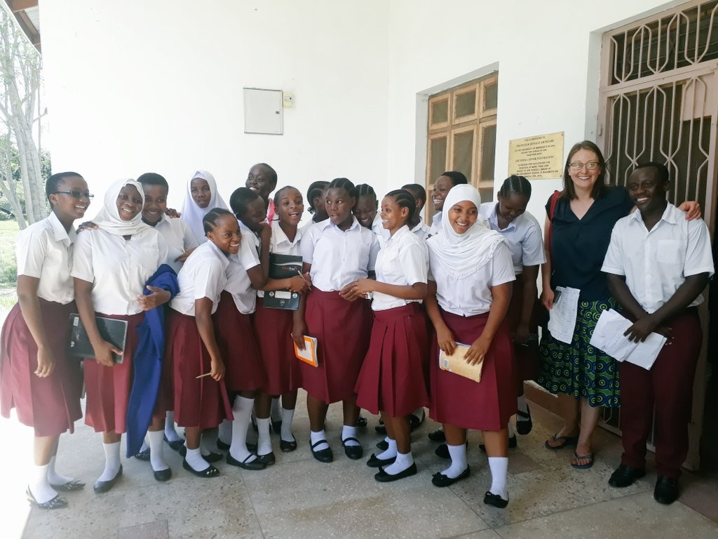 Director, Dr. Lizzy Attree, with students from Nianjema High School