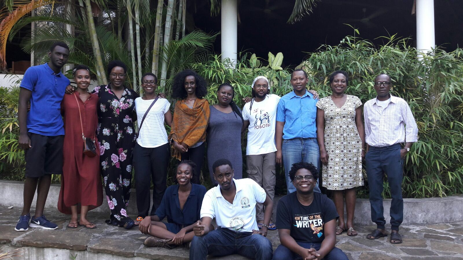 Participants for the 2017 Caine Prize Workshop in Bagamoyo, Tanzania. Top row: Daniel Rafiki (Rwanda), Darla Rudakubana (Rwanda), Lesley Nneka Arimah (Nigeria), Cheryl Ntumy (Botswana/Ghana), Agazit Abate (Ethiopia), Esther Karin Mngodo (Tanzania), Tendai Huchu (Zimbabwe), Zaka Riwa (Tanzania), Elise Dillsworth (workshop facilitator) and Mohammed Naseehu Ali (workshop facilitator). Bottom row: Lydia Kasese (Tanzania), Abdul Adan (Somalia/Kenya) and Lidudumalingani (South Africa)