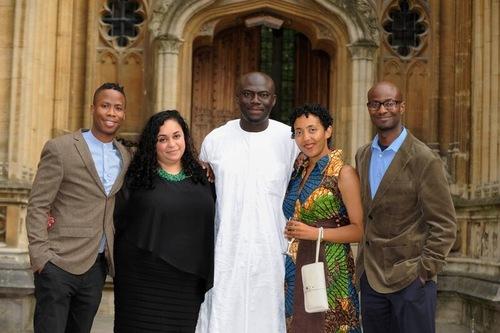 L-R: Masande Ntshanga (South Africa), F.T. Kola (South Africa), Elnathan John (Nigeria), Namwali Serpell (Zambia) and Según Afolabi (Nigeria)