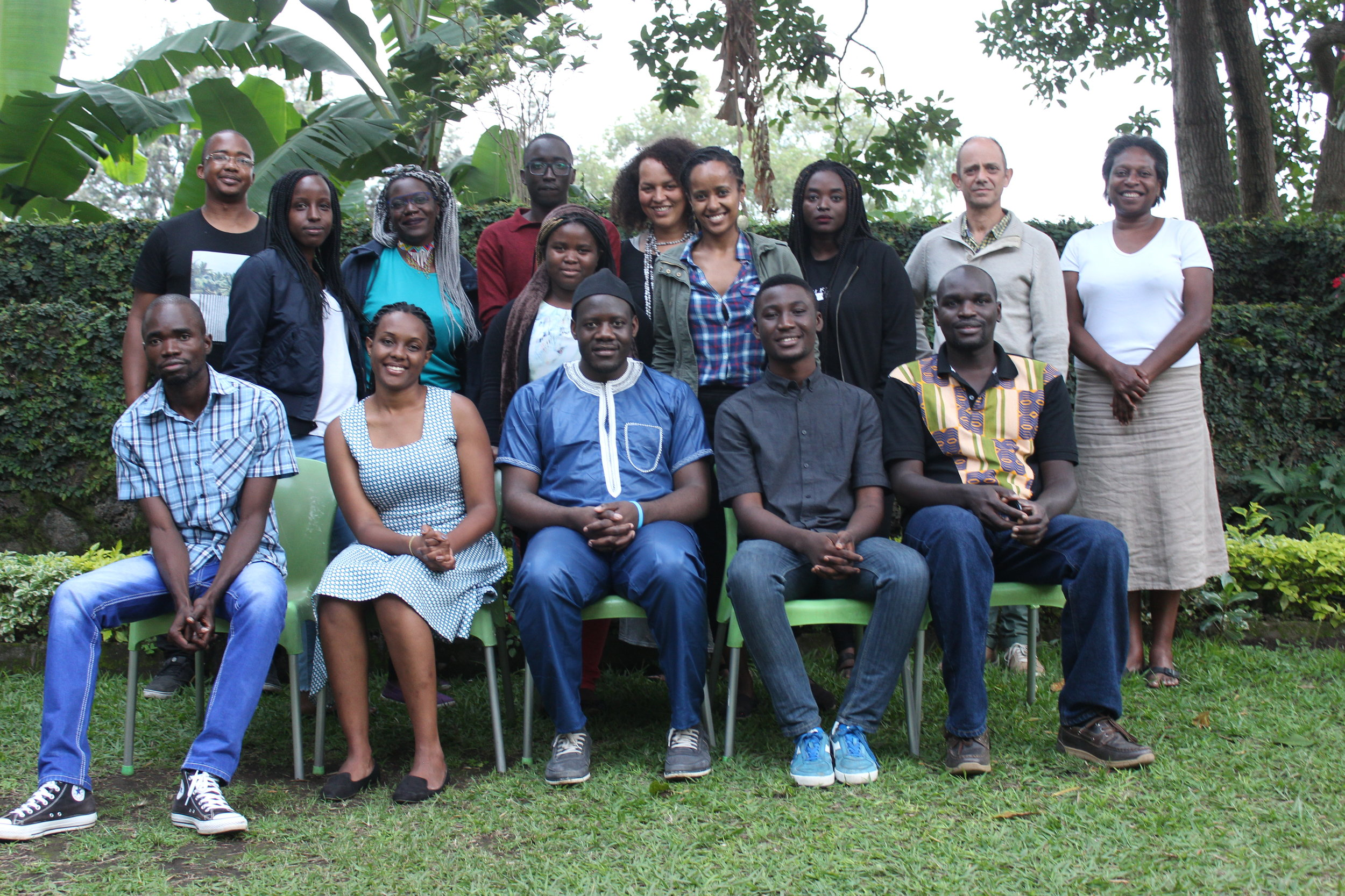 Top row (L-R):   Bongani Kona (Zimbabwe/South Africa), Paula Akugizibwe (Rwanda), Awuor Onyango (Kenya), Troy Onyango (Kenya), Lucky Grace Isingizwe (Rwanda), Vimbai Shire (workshop coordinator), Heran Abate (Ethiopia), Eloghosa Osunde (Nigeria), Damon Galgut (workshop facilitator) and Elise Dillsworth (workshop facilitator).    Bottom row (L-R):   Bongani Sibanda (Zimbabwe), Caroline Numuhire (Rwanda), Nsah Mala (Cameroon), Arinze Ifeakandu (Nigeria) and Dilman Dila (Uganda).