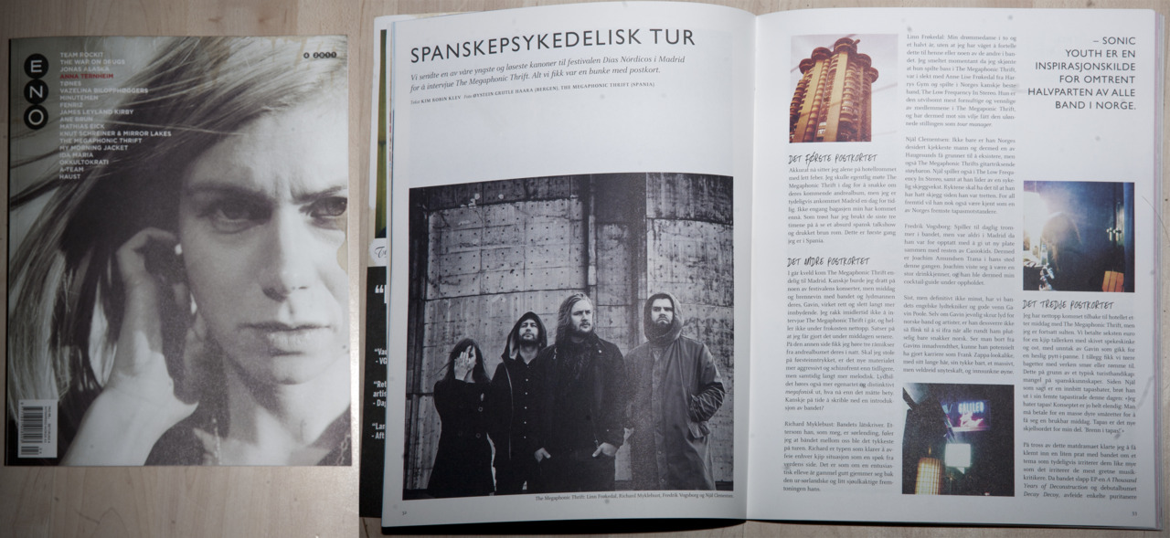 Got published in the norwegian music-magazine Eno with pictures of the great norwegian band The Megaphonic Thrift,  Øystein Haara Photography      Check them out at:  http://www.facebook.com/megaphonicthrift?ref=ts     Postproduction: Kim Kvalheim