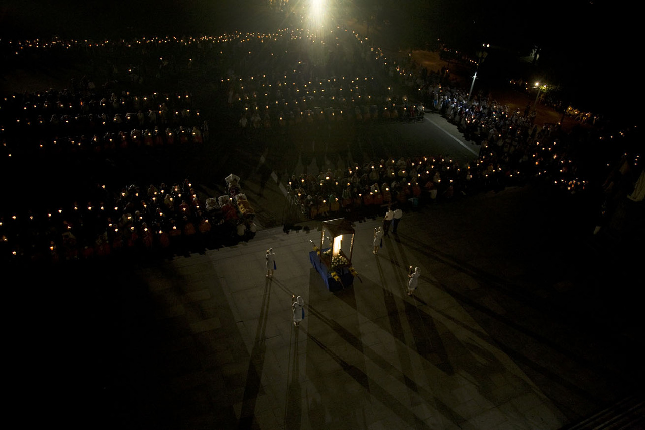 Documentary project   Lourdes 2010  #   Gods Volunteers#  This photograph is under the Flambona ceremony.