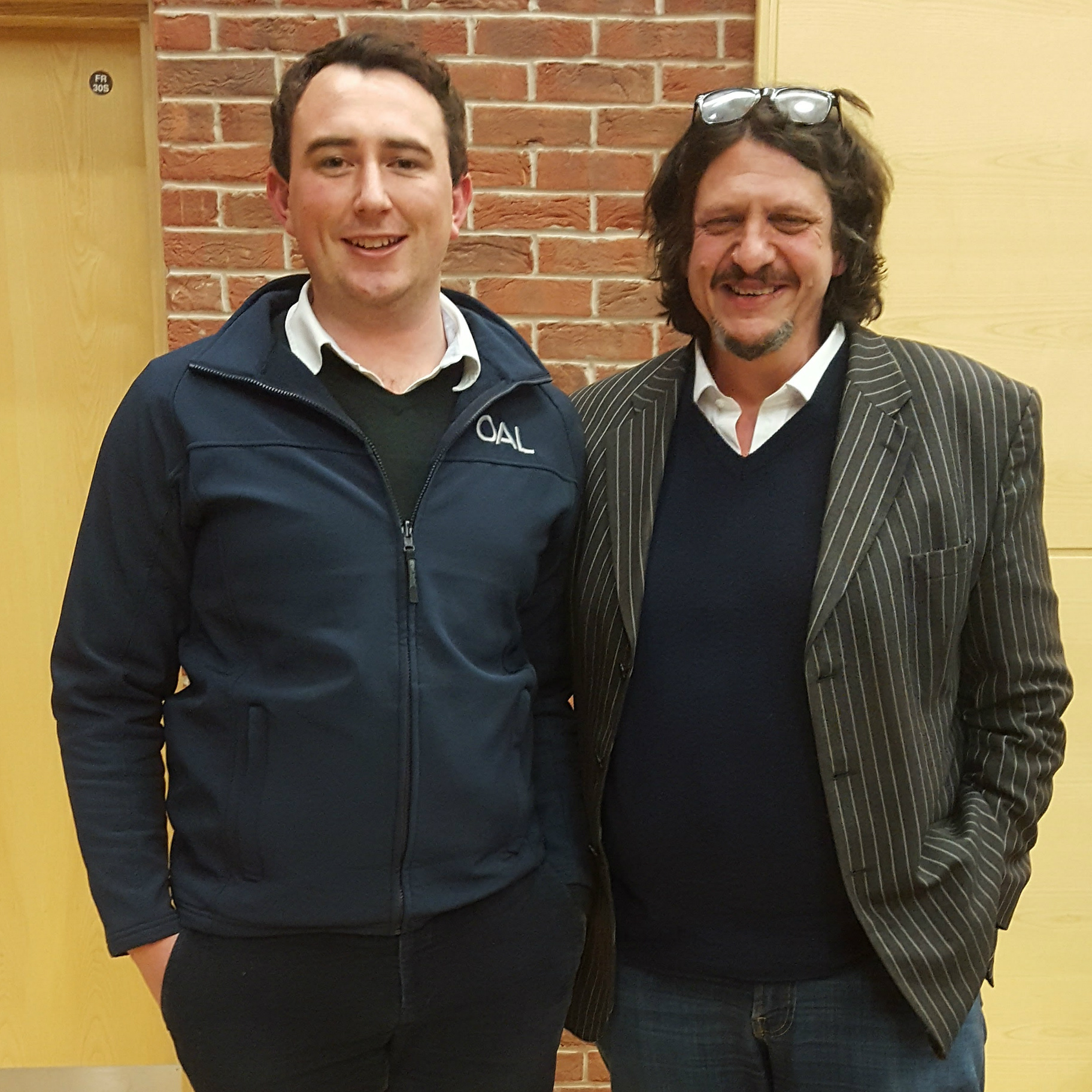 Jake Norman, OAL's Innovation Manager with Jay Rayner