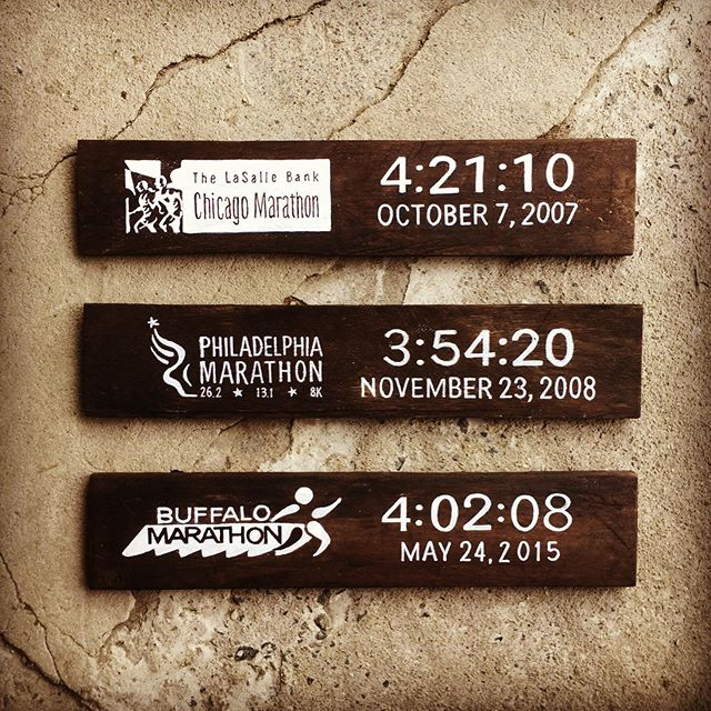The client wanted to display her husband's marathon finish times. Here are the first three. All will link together, or order of race date. #threebsfinderys #3bsbarn #3bsseasonthree #handpainted #customorder #palletwood #marathon #marathonfinisher #runner #runningmotivation