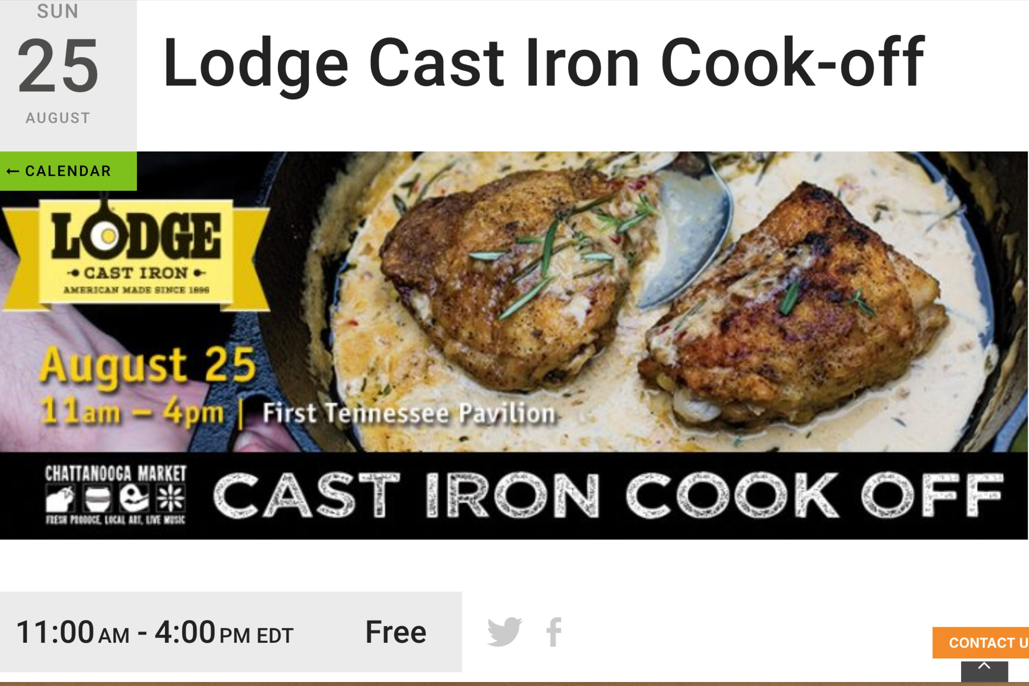 August 25th - Who will become Chattanooga's next (lodge) Iron chef? We will be there flaunting our jewels and tee's to see who will win!