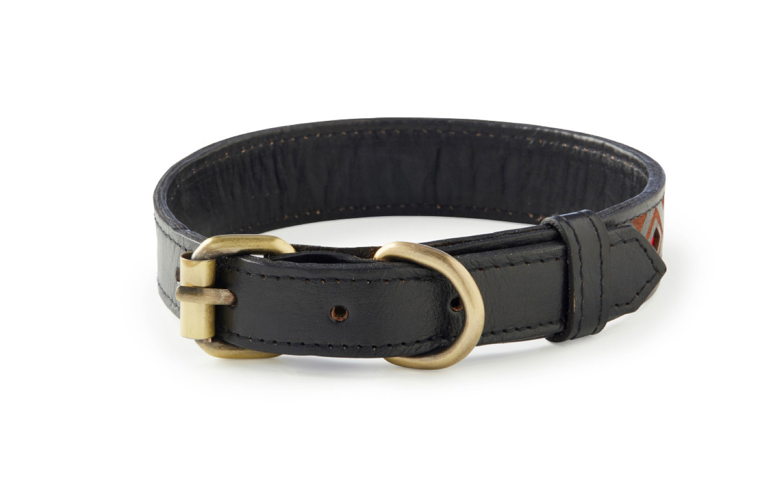 Hanalei - Black and Red Leather Dog Collar