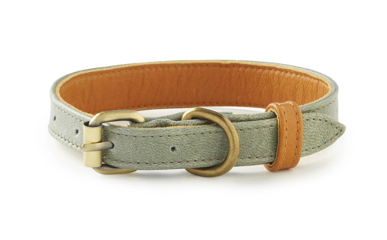 La Jolla - Grey and Tan Leather Dog Collar