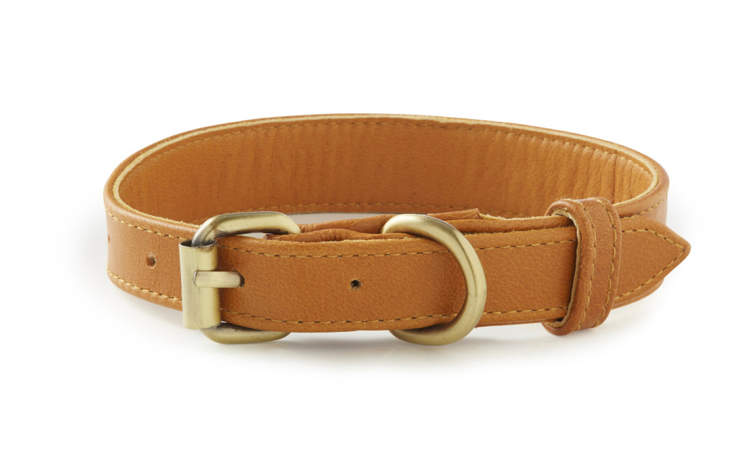 Topsail - Tan Leather Dog Collar