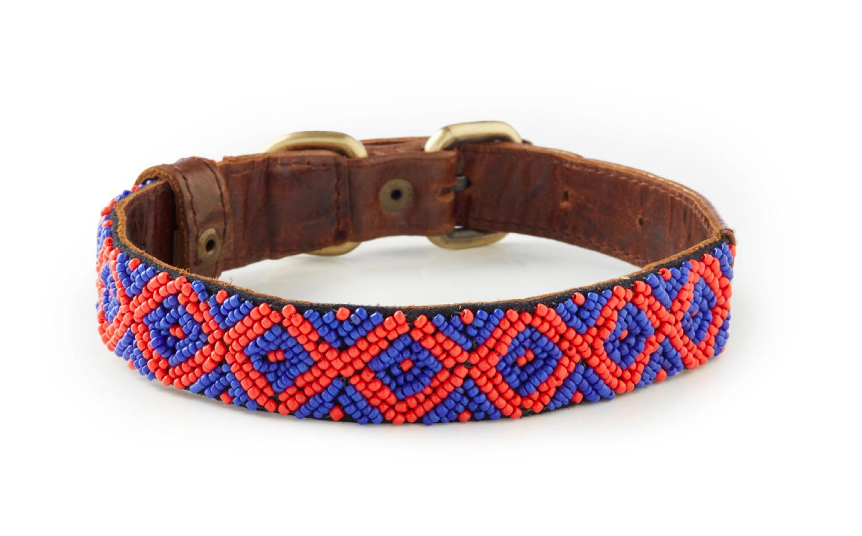Keramas - Italian Leather Hand-Beaded Dog Collar