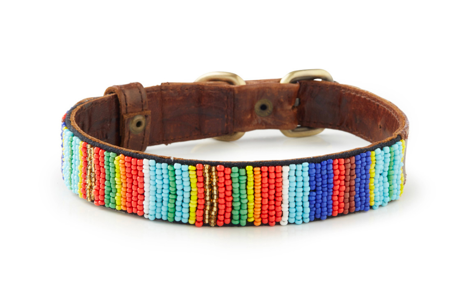 Dreamland - Hand Beaded Italian Leather Dog Collar
