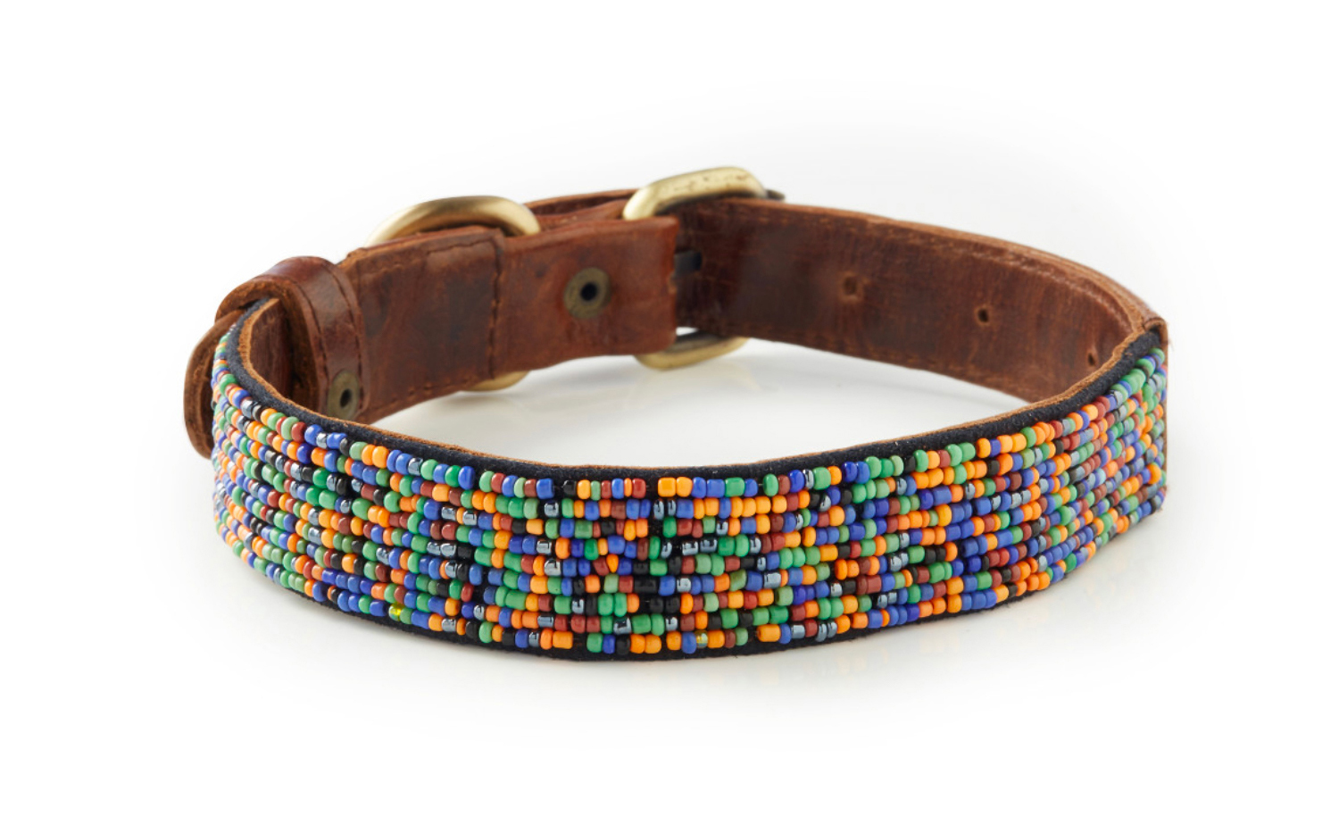 Medewi - Hand Beaded Italian Leather Dog Collar