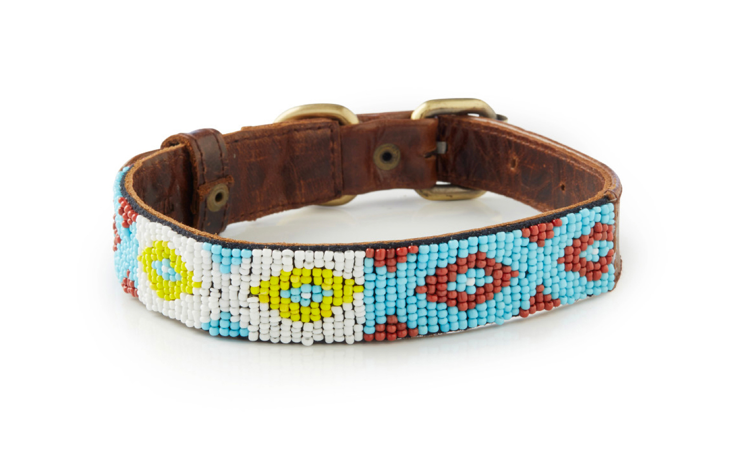 Echo - Hand Beaded Italian Leather Dog Collar