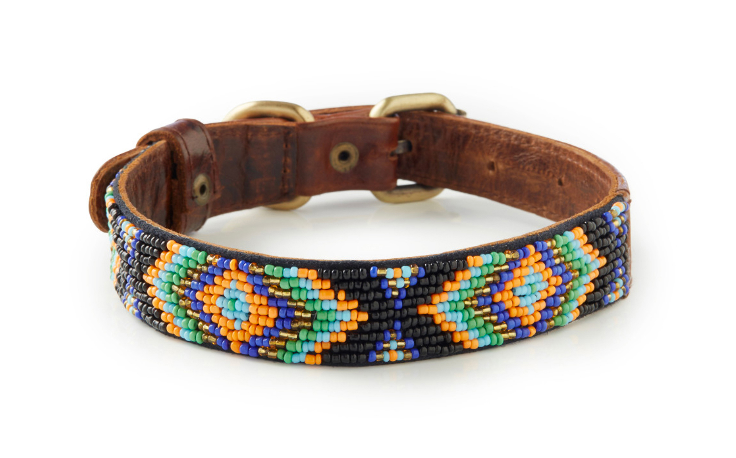 Berawa - Italian Leather Hand-Beaded Dog Collar