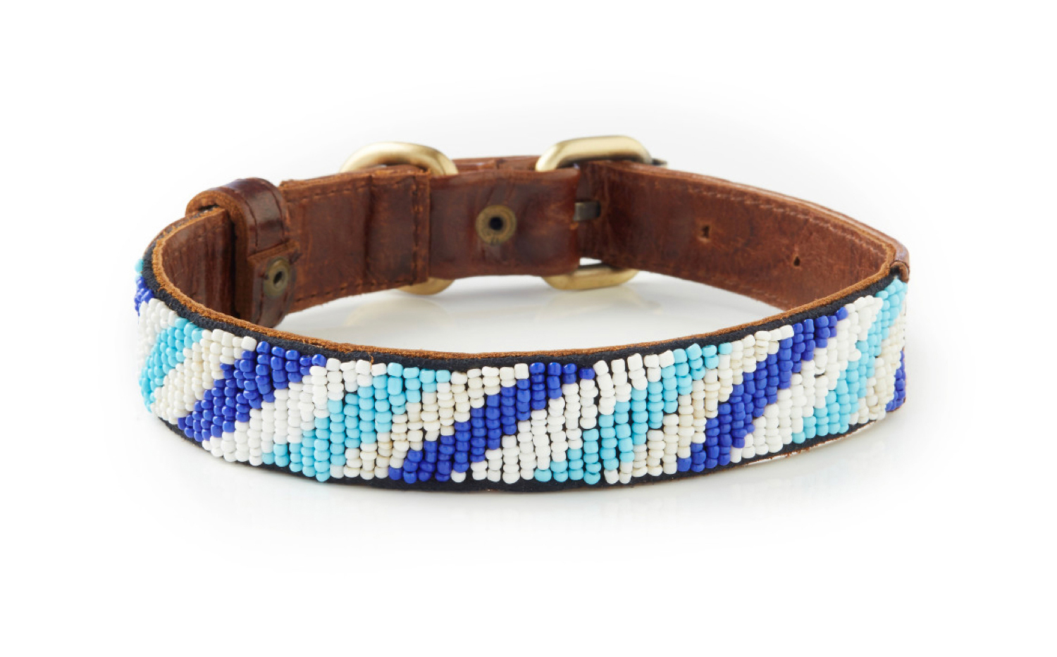 Uluwatu - Italian Leather Hand-Beaded Dog Collar