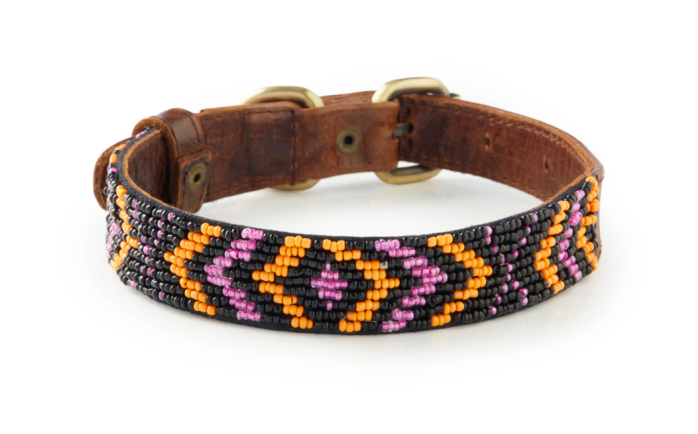 Kuta - Italian Leather Hand-Beaded Dog Collar